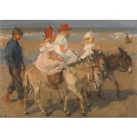 Karo-art Schilderij - Ezeltje rijden langs het strand, Isaac Israels, ca. 1890 - ca. 1901   100x70cm