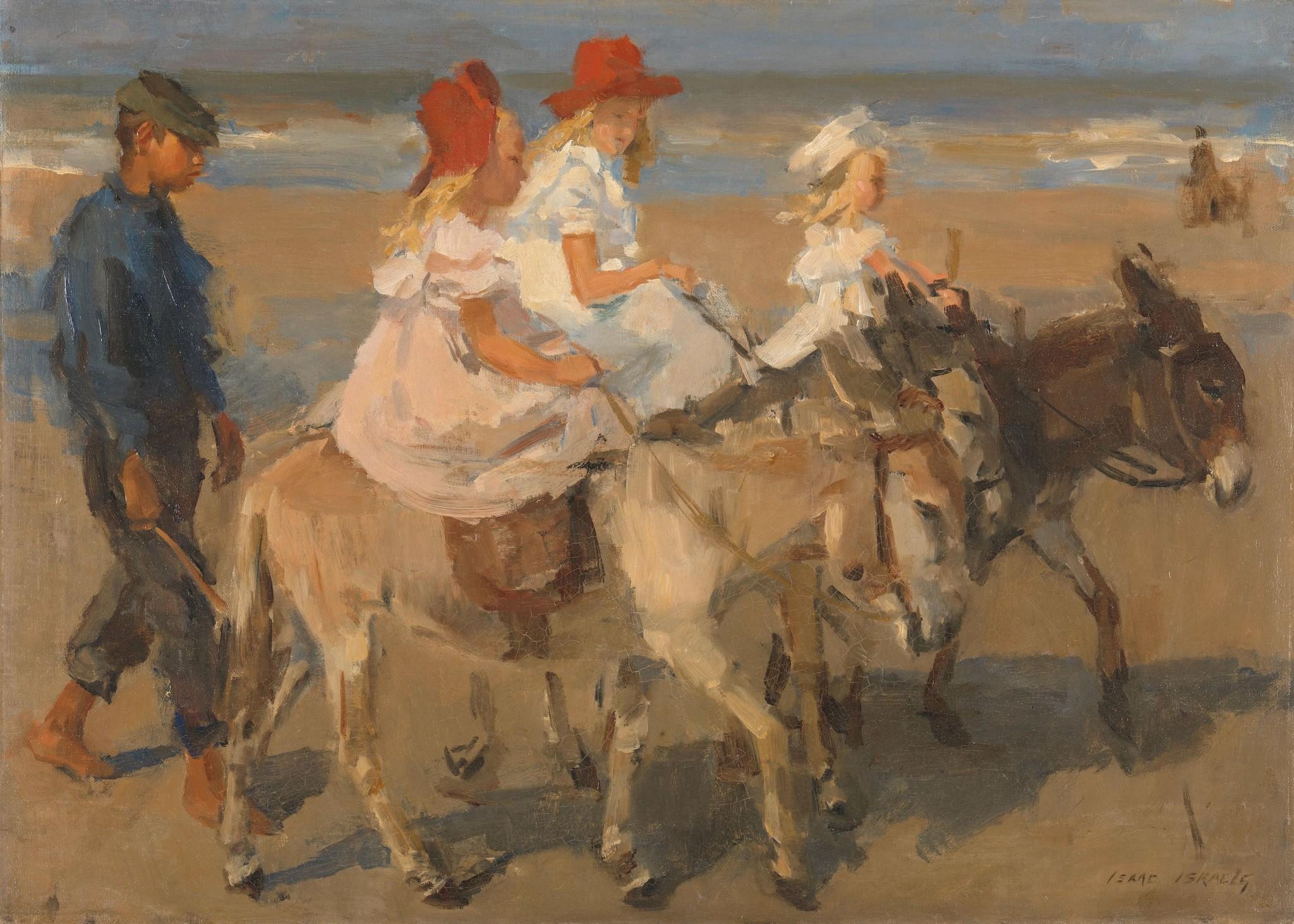 Schilderij - Ezeltje rijden langs het strand, Isaac Israels, ca. 1890 - ca. 1901 100x70cm