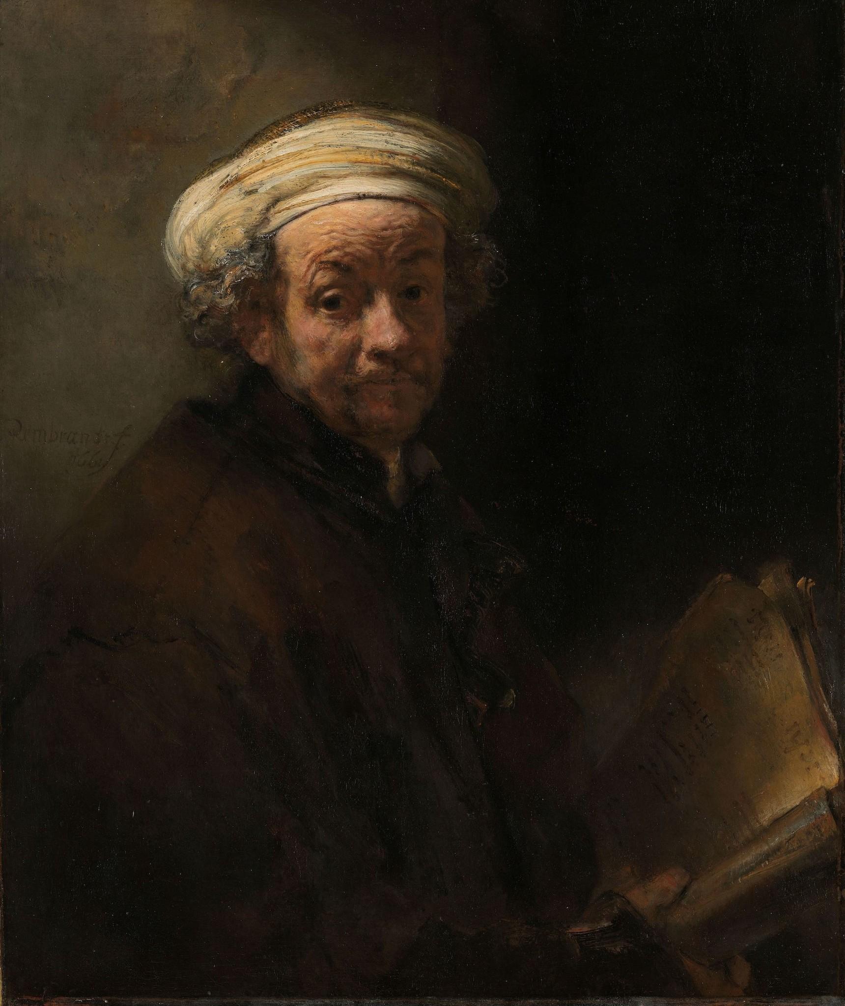 Schilderij - Rembrandt van Rijn, Zelfportret als de apostel Paulus, 1661, 80x100cm