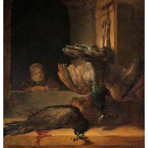 Karo-art Schilderij - Rembrandt van Rijn, Stilleven met pauwen,  ca1639, 90x90cm.