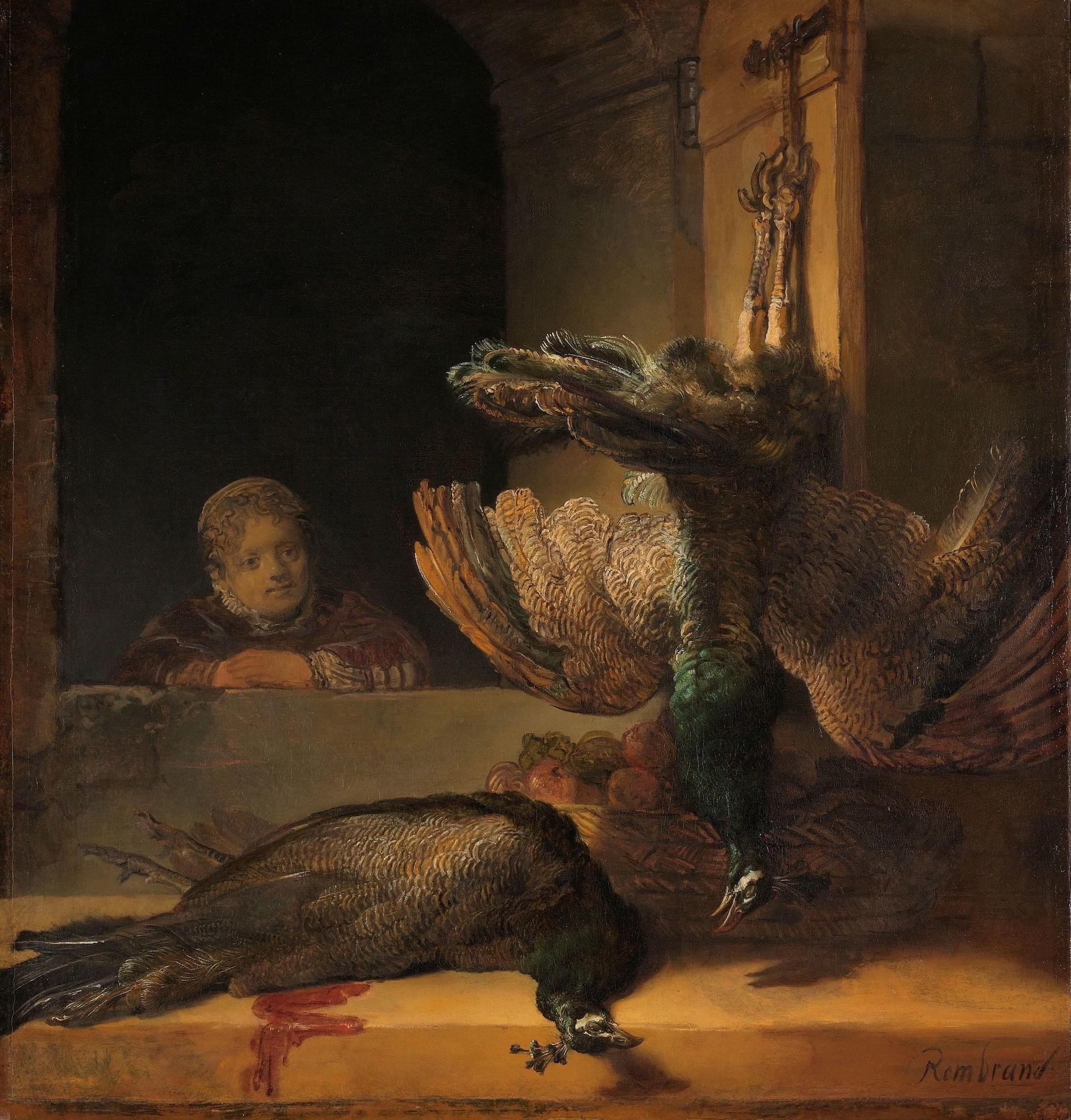 Schilderij - Rembrandt van Rijn, Stilleven met pauwen, ca1639, 90x90cm.