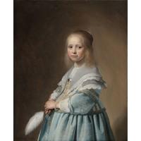 Karo-art Schilderij - Johannes Cornelisz. Verspronck, Portret van een meisje in het blauw, 1641, 80x100cm