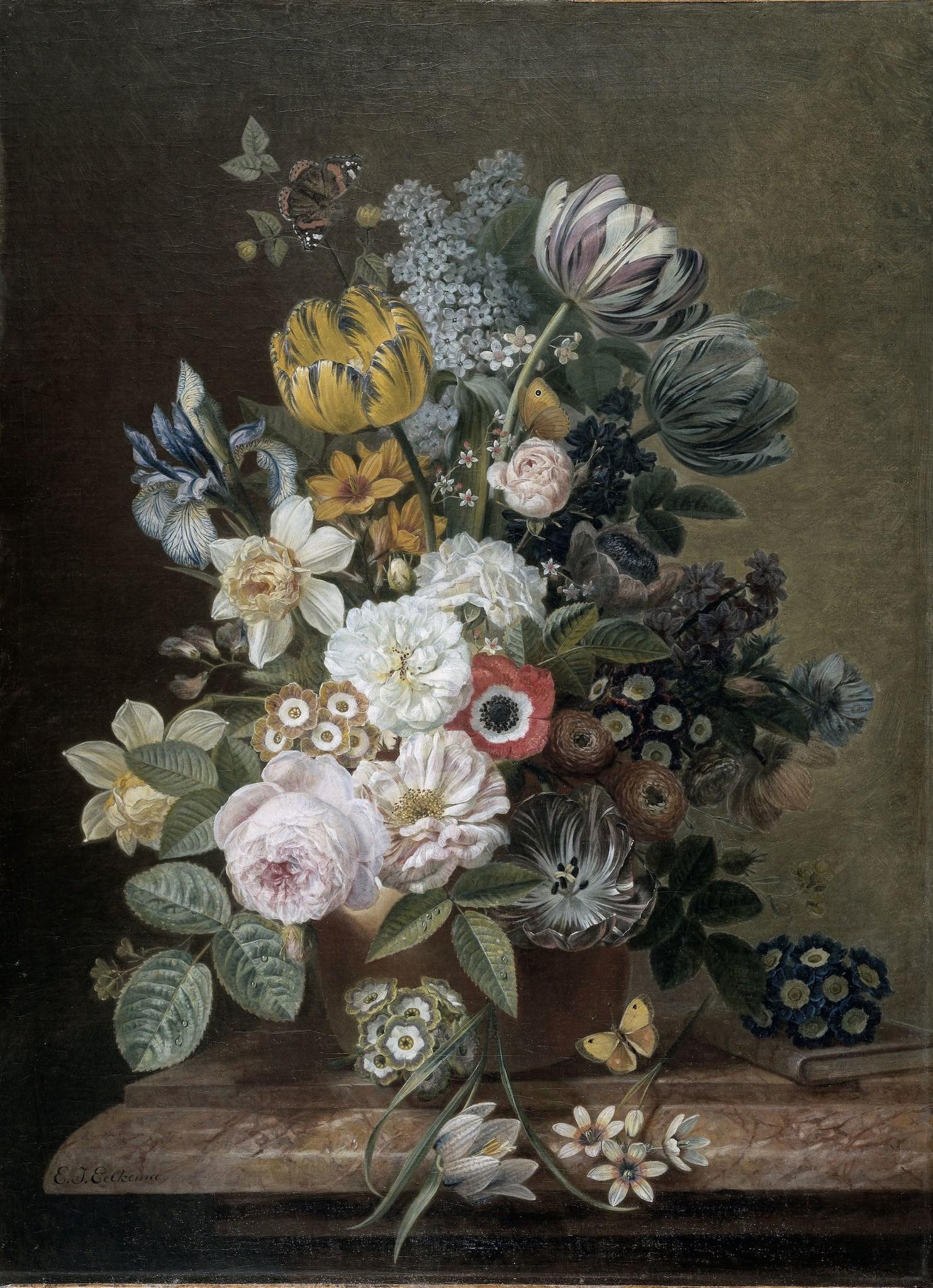 Schilderij - Eelke Jelles Eelkema, Stilleven, 1815 - 1839, 70x100cm