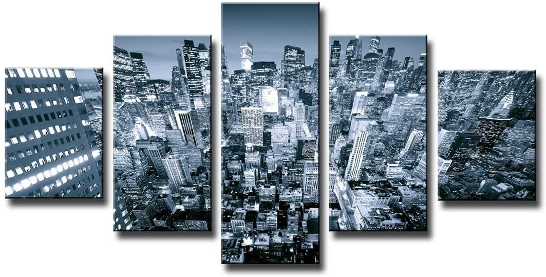 Schilderij - New York in zwart en wit, 5 luik, 160x80cm