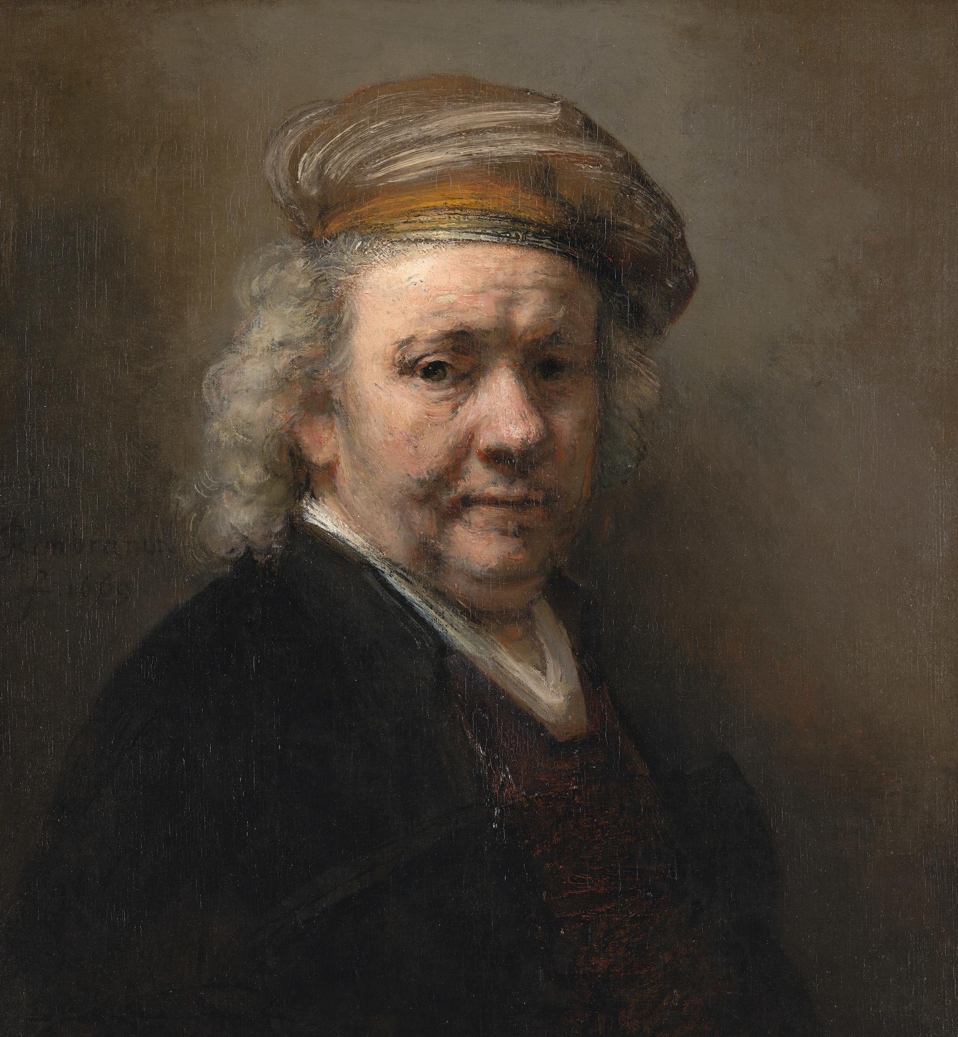 Schilderij - Rembrandt van Rijn, Zelfportret, 1669, 90x100 cm