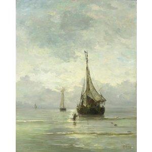 Karo-art Schilderij - Hendrik Willem Mesdag, Kalme zee, 1860-1900, reproductie, 60x80cm