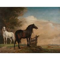 Karo-art Schilderij - Paulus Potter, Twee paarden in de wei bij een hek,  1649, reproductie, 60x80cm