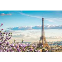 Karo-art Schilderij - Lente in Parijs, Eiffeltoren, 90x60cm. Premium print