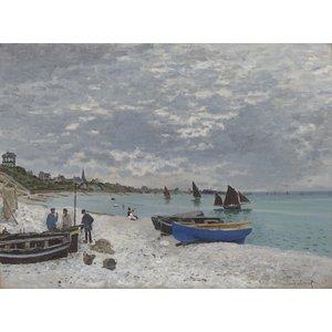 Karo-art Schilderij - Claude Monet, The Beach at Sainte-Adresse,  1867,  Premium print
