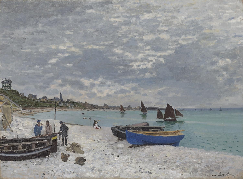 Schilderij - Claude Monet, The Beach at Sainte-Adresse, 1867, Premium print