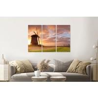 Karo-art Schilderij - Nederlandse ochtend, 3 luik, premium print