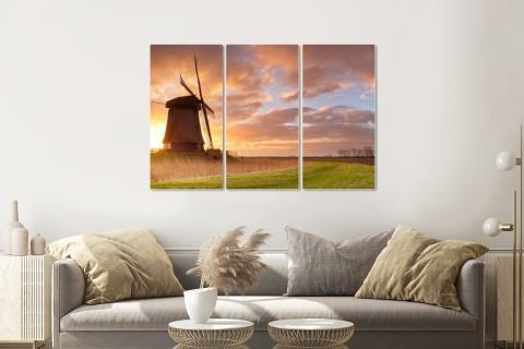 Schilderij - Nederlandse ochtend, 3 luik, premium print