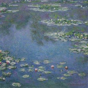 Karo-art Schilderij - Claude Monet, Waterlelies, 3 maten, premium print
