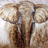 Schilderij - Handgeschilderd - Imposante Olifant, 100x100
