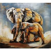Schilderij - Metaalschilderij - Olifant en kalf, handgeschilderd op metaal  100x100cm