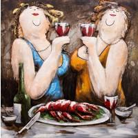 Schilderij - Metaalschilderij - Dikke dames en de gezelligheid, metaal met de hand geschilderd, 2 maten