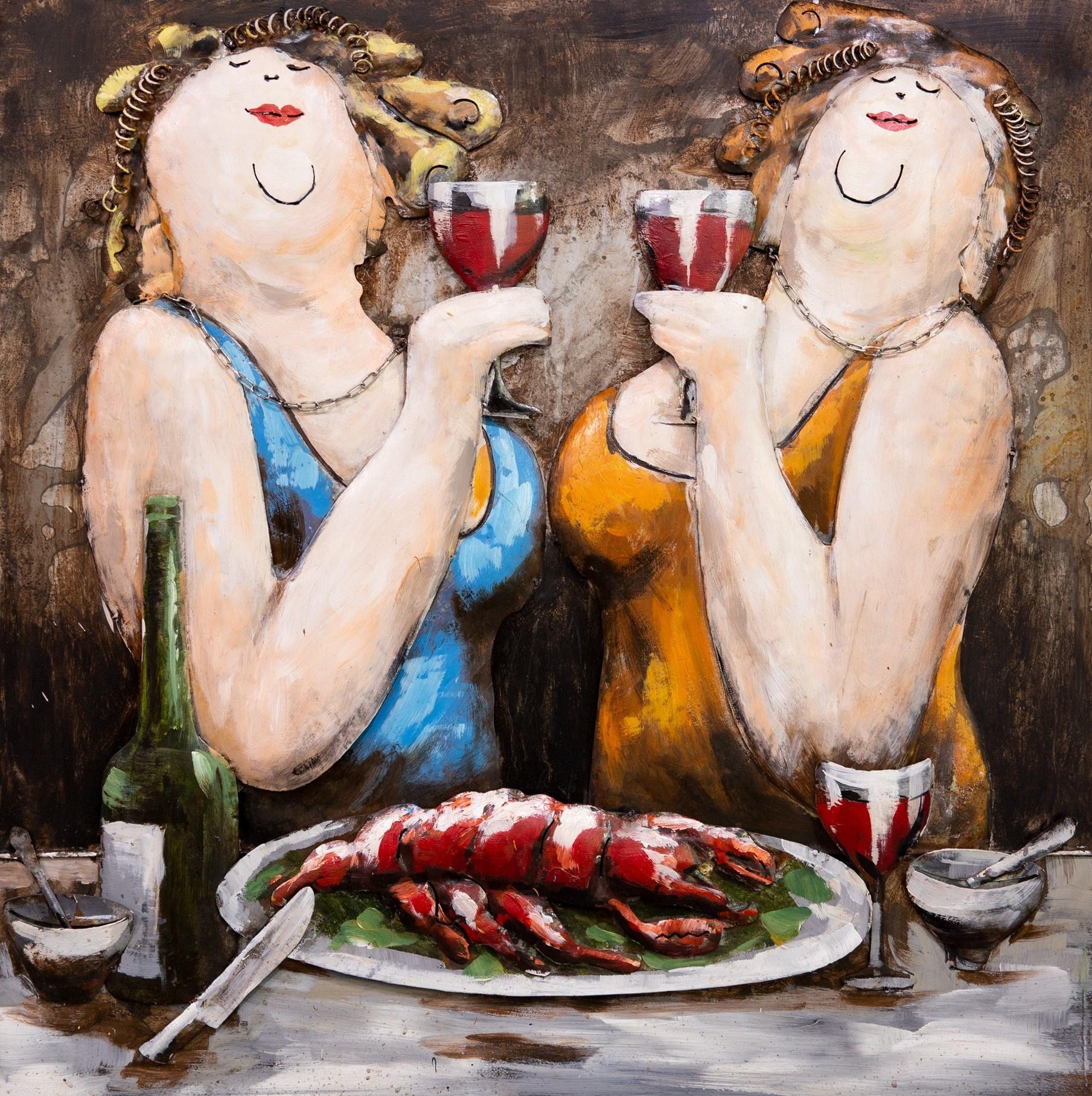 Schilderij - Metaalschilderij - Dikke dames en de gezelligheid, metaal met de hand geschilderd, 2 ma