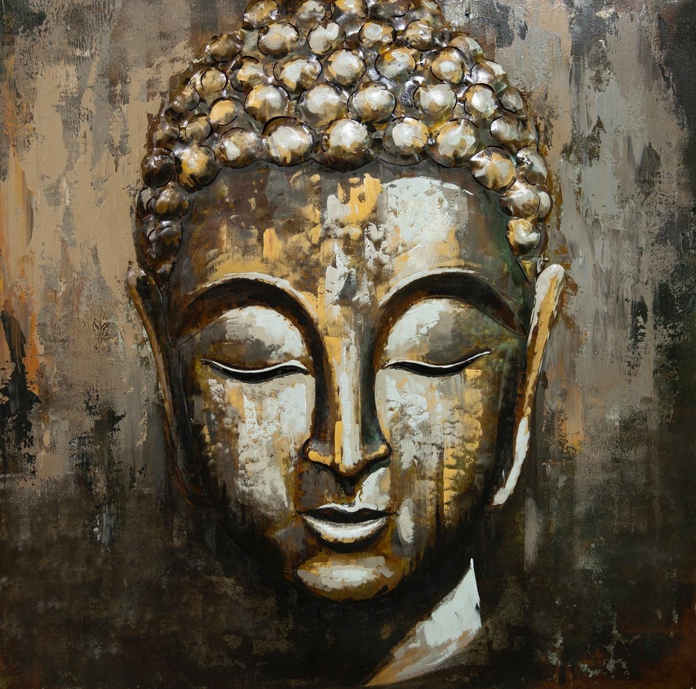 Schilderij - Metaalschilderij - Boeddha, metaal met de hand geschilderd, 100x100cm