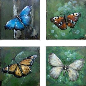 Schilderij - Metaalschilderij - Vlinders, set van 4 x 40x40cm. vierluik, met de hand geschilderd op metaal