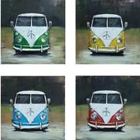 Schilderij - Metaalschilderij - Volkswagen bus T1, set van 4 x 40x40cm. vierluik, met de hand geschilderd op metaal