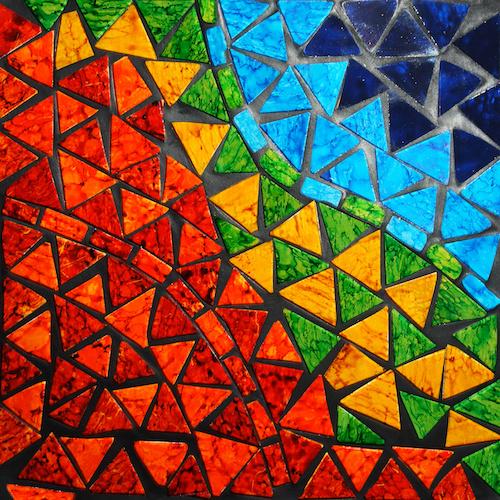 Schilderij - Mozaiek, premium print, 3 maten, Wanddecoratie voor huiskamer en slaapkamer. -  1 luik - 100x100 cm