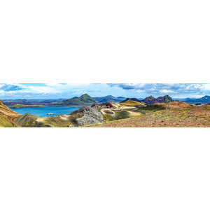 Karo-art Schilderij -Kleurrijke Bergen, IJsland, 150x30cm. premium print