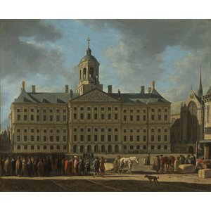 Karo-art Schilderij - Gerrit Adriaensz. Berckheyde, Het stadhuis op de Dam in Amsterdam,  1672, 90x70cm
