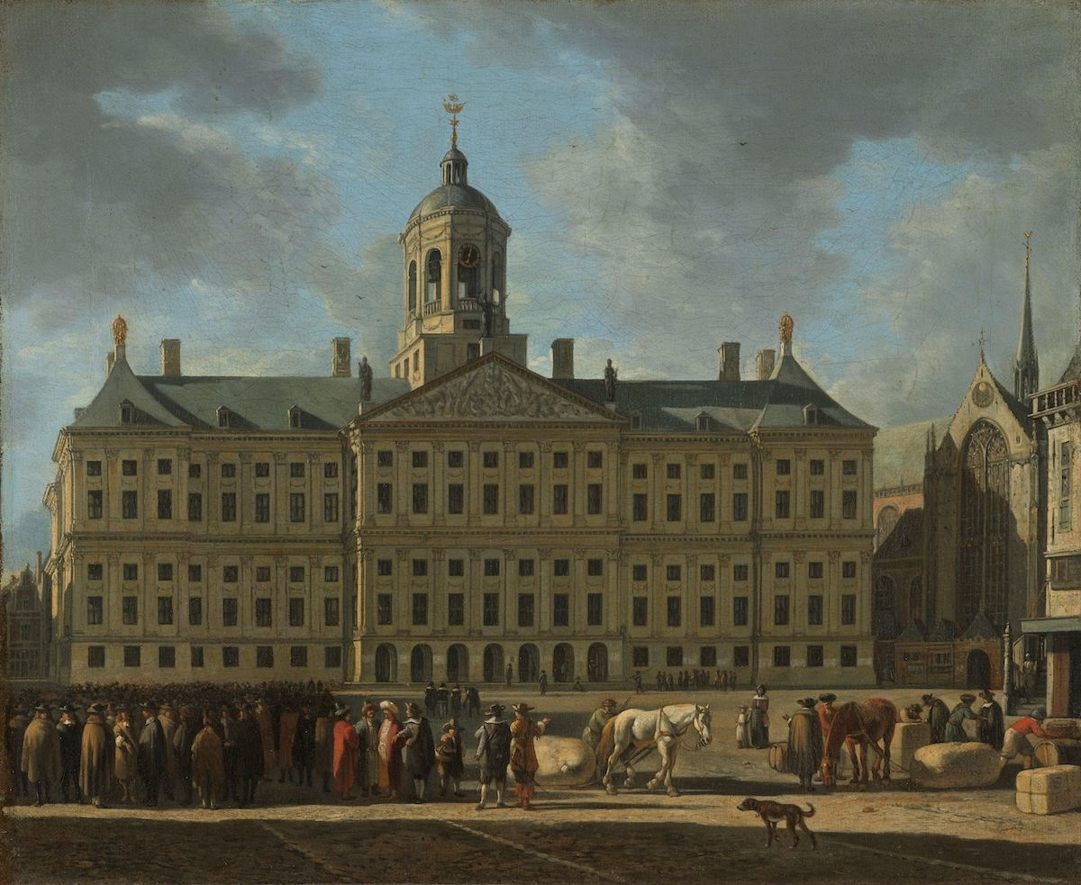 -16% SALE | Schilderij - Gerrit Adriaensz. Berckheyde, Het stadhuis op de Dam in Amsterdam,  1672, 90x70cm -  1 luik
