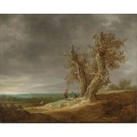 Karo-art Schilderij - Jan van Goyen, Landschap met twee eiken, 1641, 90x70cm