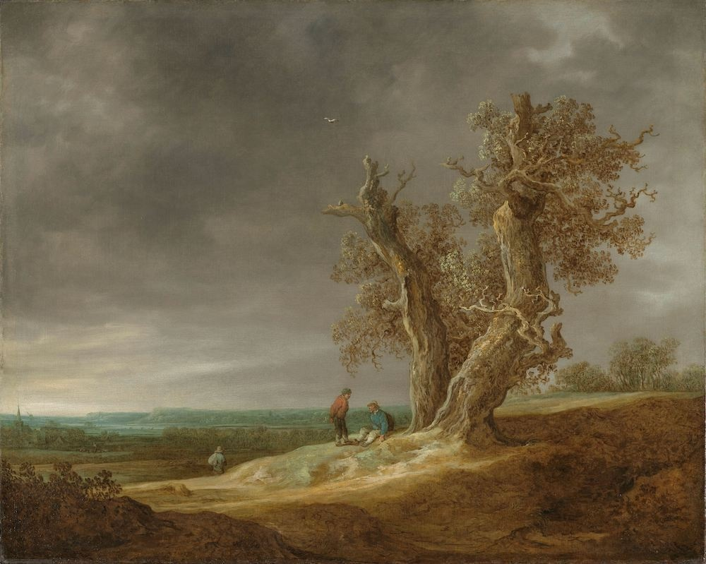 -16% SALE | Schilderij - Jan van Goyen, Landschap met twee eiken, 1641, 90x70cm -  1 luik
