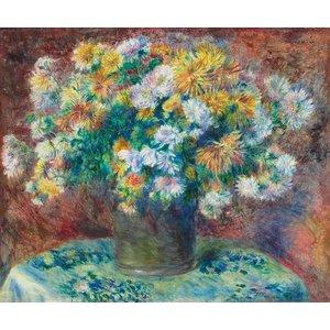 Karo-art Schilderij - Pierre-Auguste Renoir - Chrysanten, 1881/82,  90x70cm.
