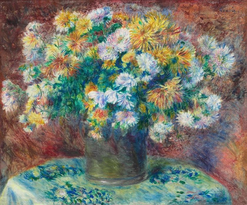 -16% SALE | Schilderij - Pierre-Auguste Renoir - Chrysanten, 1881/82,  90x70cm. -  1 luik