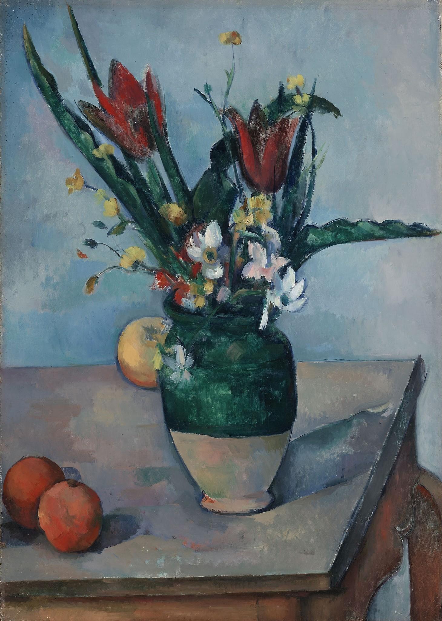Schilderij - Paul Cezanne - Vaas met tulpen, ca. 1890, 70x100cm
