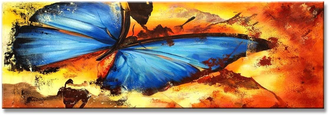 Schilderij - Prachtige Blauwe Vlinder, 120x40cm. 1 deel incl ophangmateriaal