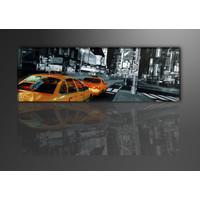 Schilderij - Taxi in New Yok, USA,   120x40cm.  Incl. haakjes om op te hangen