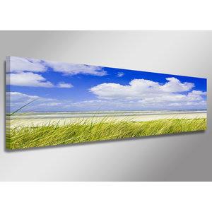 Schilderij - Het strand, Noordzee, 120x40cm.  Incl haakjes om op te hangen