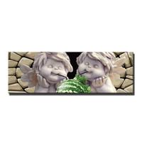 Schilderij - Lieve engeltjes aan de frisdrank,   120x40cm.  Incl haakjes om op te hangen