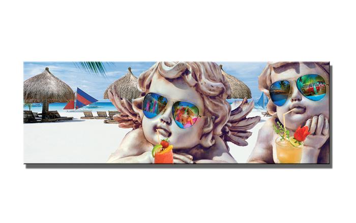 Schilderij - Lieve engeltjes op het strand, 120x40cm. Incl haakjes om op te hangen
