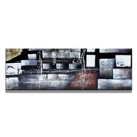 Schilderij - Abstract in blokken en krullen,   120x40cm.  Incl haakjes om op te hangen