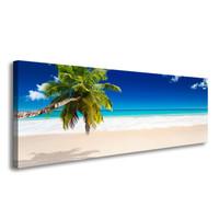 Schilderij - Het Paradijs met Palmboom,   120x40cm.  incl ophang haakjes