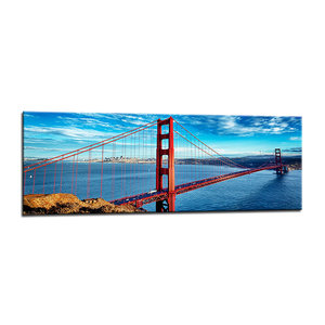Schilderij - San Francisco Golden Gate,   120x40cm.  incl ophang haakjes