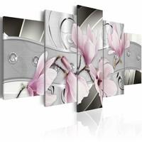Schilderij - Stalen Magnolia , grijs roze , staal look , 5 luik , 200x100cm