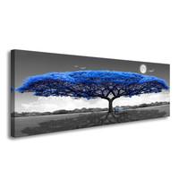 Schilderij - Blauwe boom,   120x40cm.  incl ophang haakjes