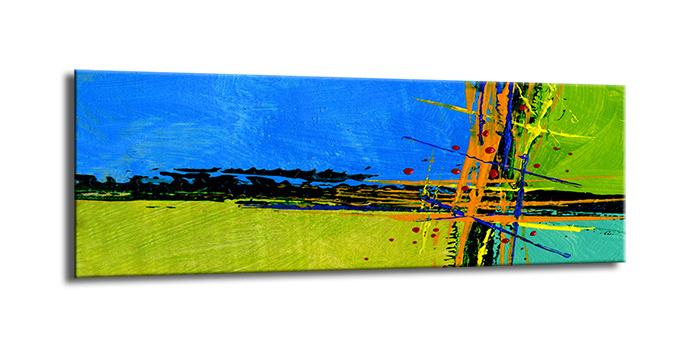 Schilderij - Abstract in blauw en groen 120x40cm. Print van handgeschilderd