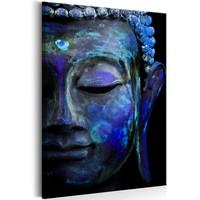 Schilderij - Blauwe Boeddha , 60x90cm