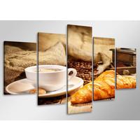 Schilderij - Koffie en croissants,   100x50 cm.  5 luik, wanddecoratie