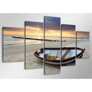 Schilderij - Boot op het strand,   100x50 cm.  5 luik, wanddecoratie