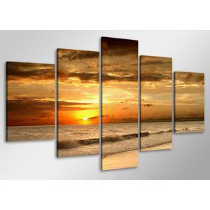 Schilderij - Zonsondergang boven zee,    100x50 cm.  5 luik, wanddecoratie