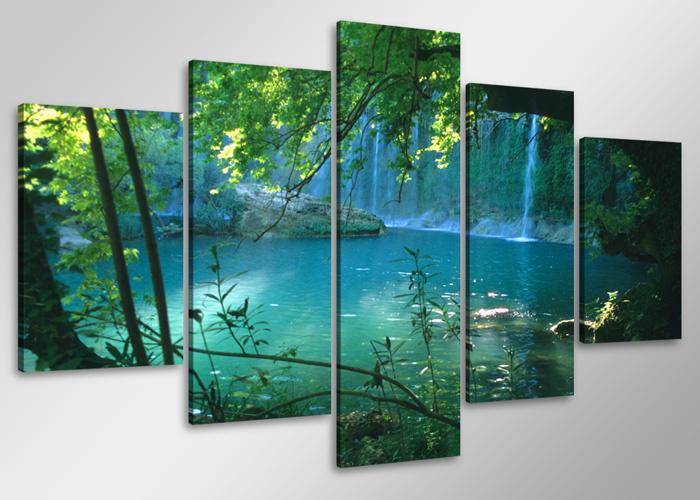 Schilderij - Waterval , 100x50 cm. 5 luik, wanddecoratie