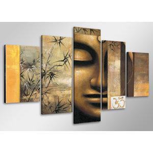 Schilderij - Boeddha met Ohm teken,    100x50 cm.  5 luik, wanddecoratie
